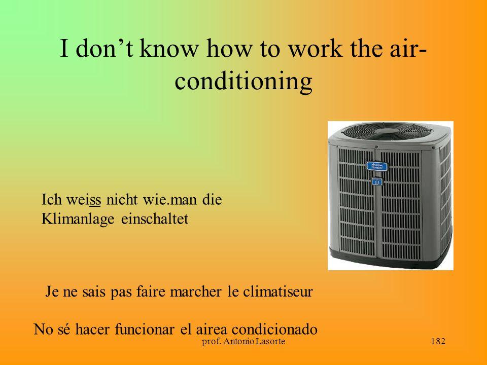 prof. Antonio Lasorte182 I dont know how to work the air- conditioning Ich weiss nicht wie.man die Klimanlage einschaltet Je ne sais pas faire marcher