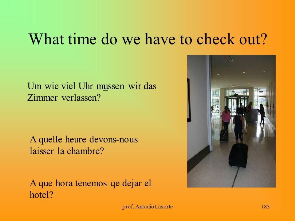 prof.Antonio Lasorte183 What time do we have to check out.