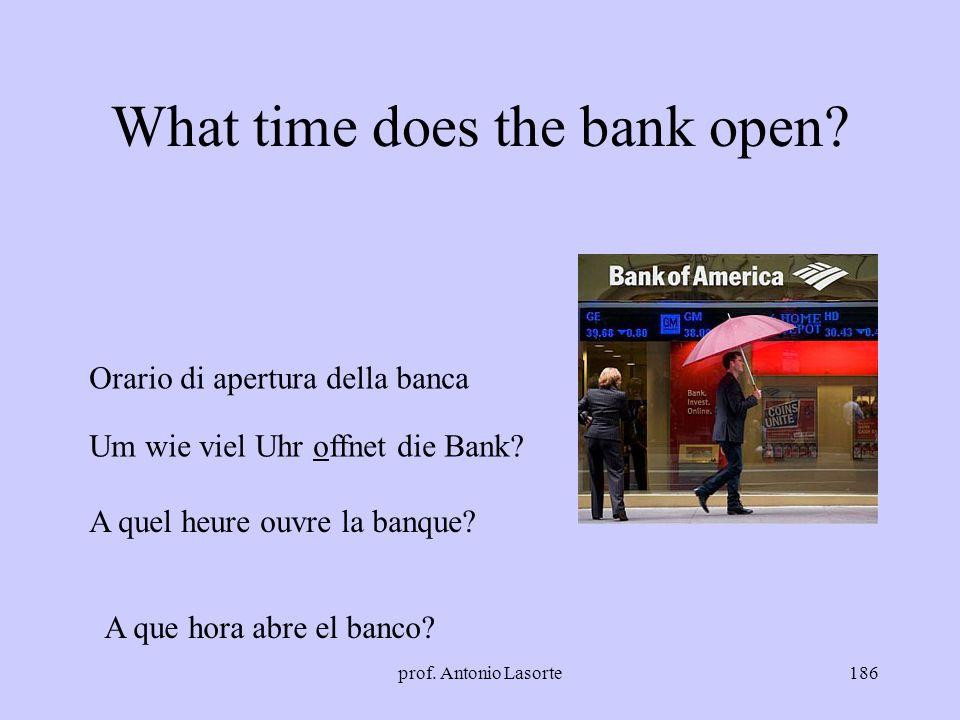 prof. Antonio Lasorte186 What time does the bank open? Orario di apertura della banca Um wie viel Uhr offnet die Bank? A quel heure ouvre la banque? A