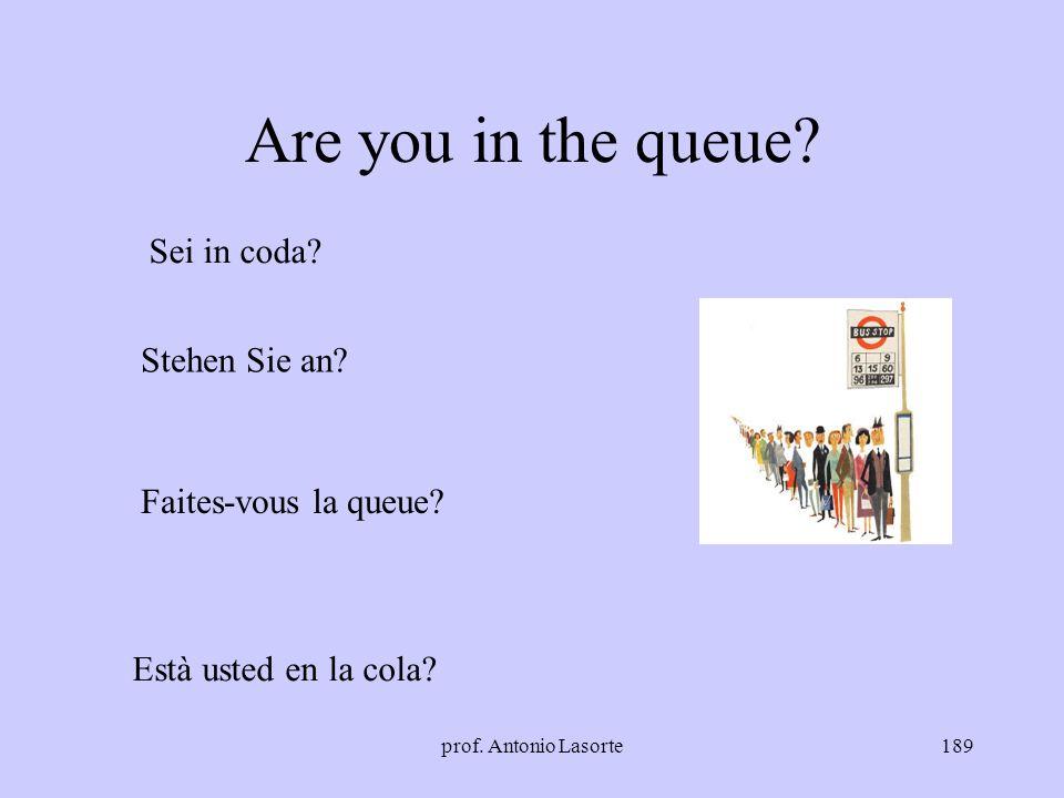 prof. Antonio Lasorte189 Are you in the queue? Sei in coda? Stehen Sie an? Faites-vous la queue? Està usted en la cola?