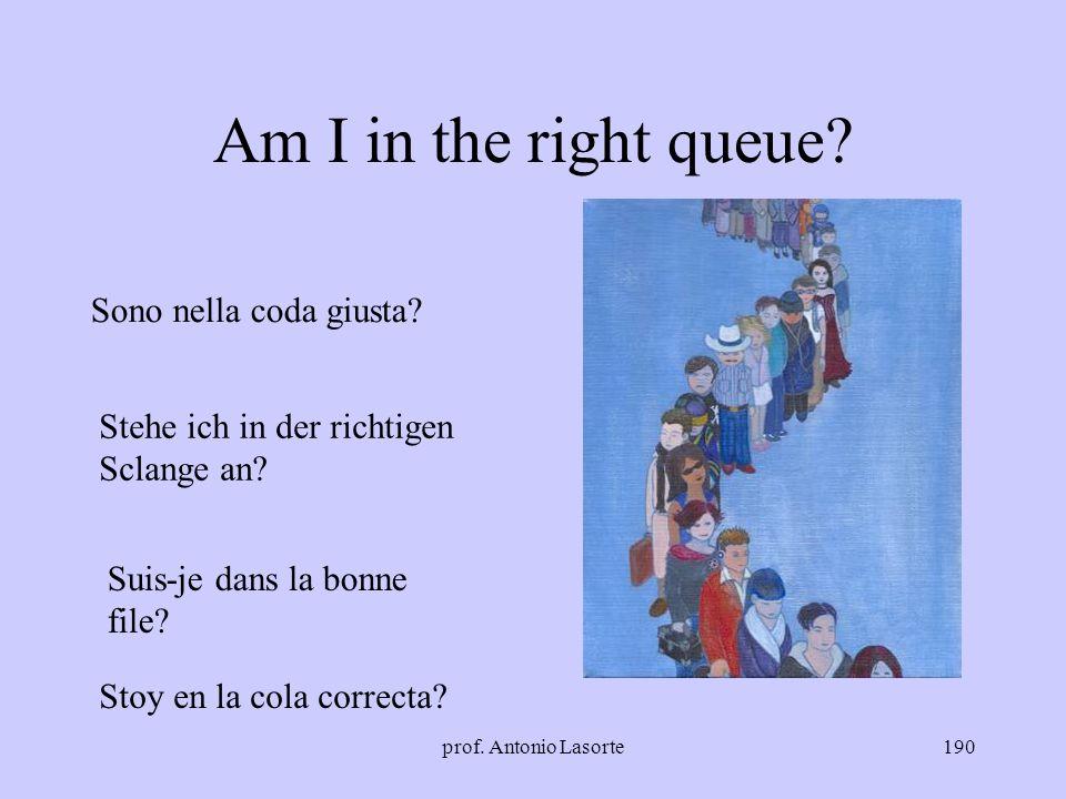 prof. Antonio Lasorte190 Am I in the right queue? Sono nella coda giusta? Stehe ich in der richtigen Sclange an? Suis-je dans la bonne file? Stoy en l