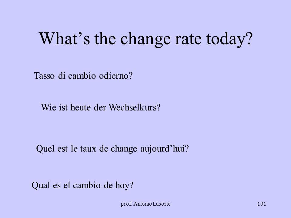 prof. Antonio Lasorte191 Whats the change rate today? Tasso di cambio odierno? Wie ist heute der Wechselkurs? Quel est le taux de change aujourdhui? Q