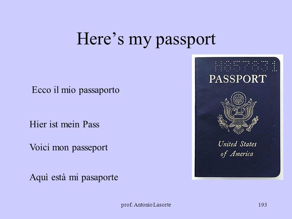 prof. Antonio Lasorte193 Heres my passport Ecco il mio passaporto Hier ist mein Pass Voici mon passeport Aquì està mi pasaporte