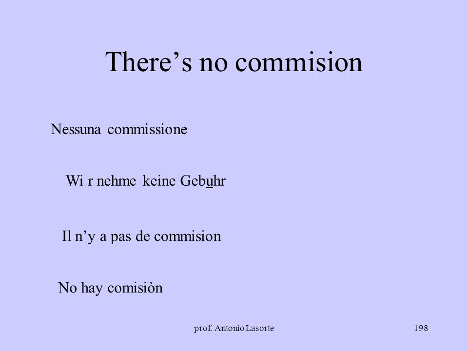 prof. Antonio Lasorte198 Theres no commision Nessuna commissione Wi r nehme keine Gebuhr Il ny a pas de commision No hay comisiòn