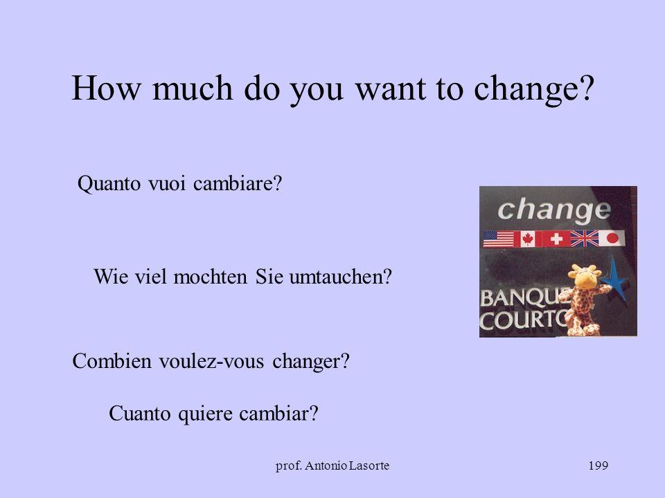 prof. Antonio Lasorte199 How much do you want to change? Quanto vuoi cambiare? Cuanto quiere cambiar? Wie viel mochten Sie umtauchen? Combien voulez-v