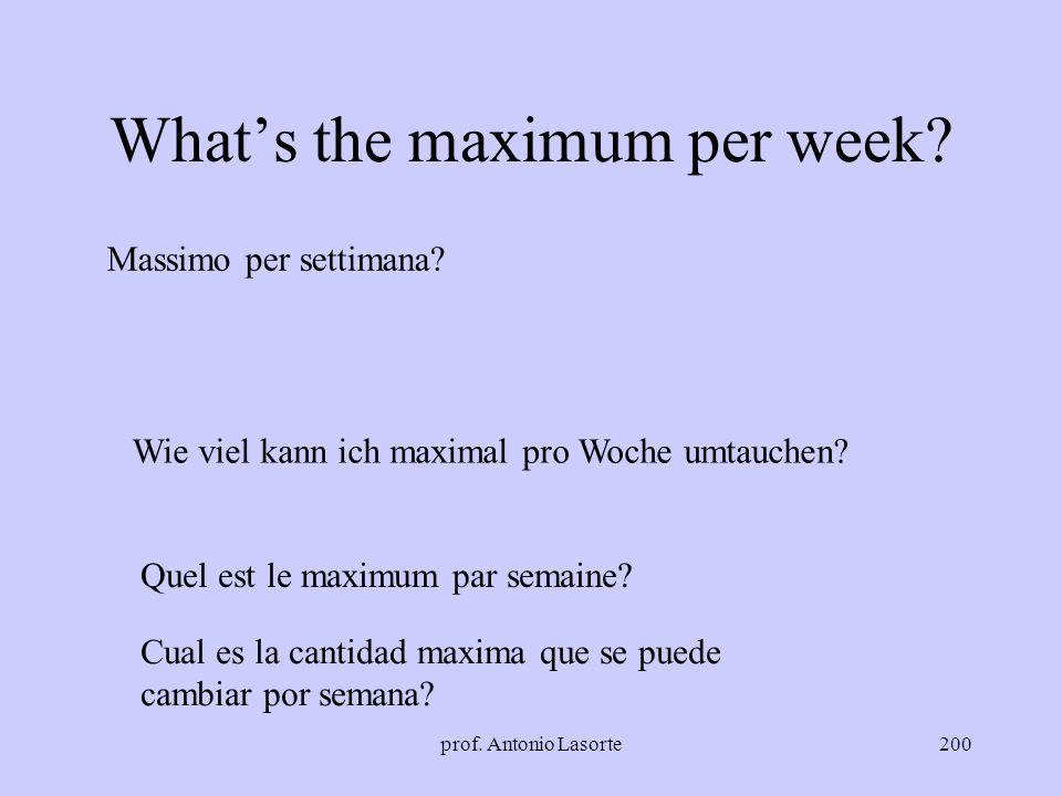 prof. Antonio Lasorte200 Whats the maximum per week? Massimo per settimana? Quel est le maximum par semaine? Wie viel kann ich maximal pro Woche umtau