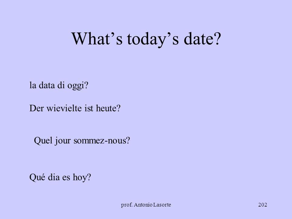 prof. Antonio Lasorte202 Whats todays date? la data di oggi? Der wievielte ist heute? Quel jour sommez-nous? Qué dia es hoy?