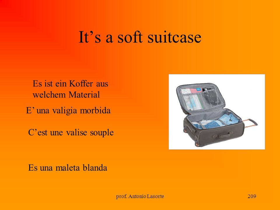 prof. Antonio Lasorte209 Its a soft suitcase E una valigia morbida Es ist ein Koffer aus welchem Material Cest une valise souple Es una maleta blanda