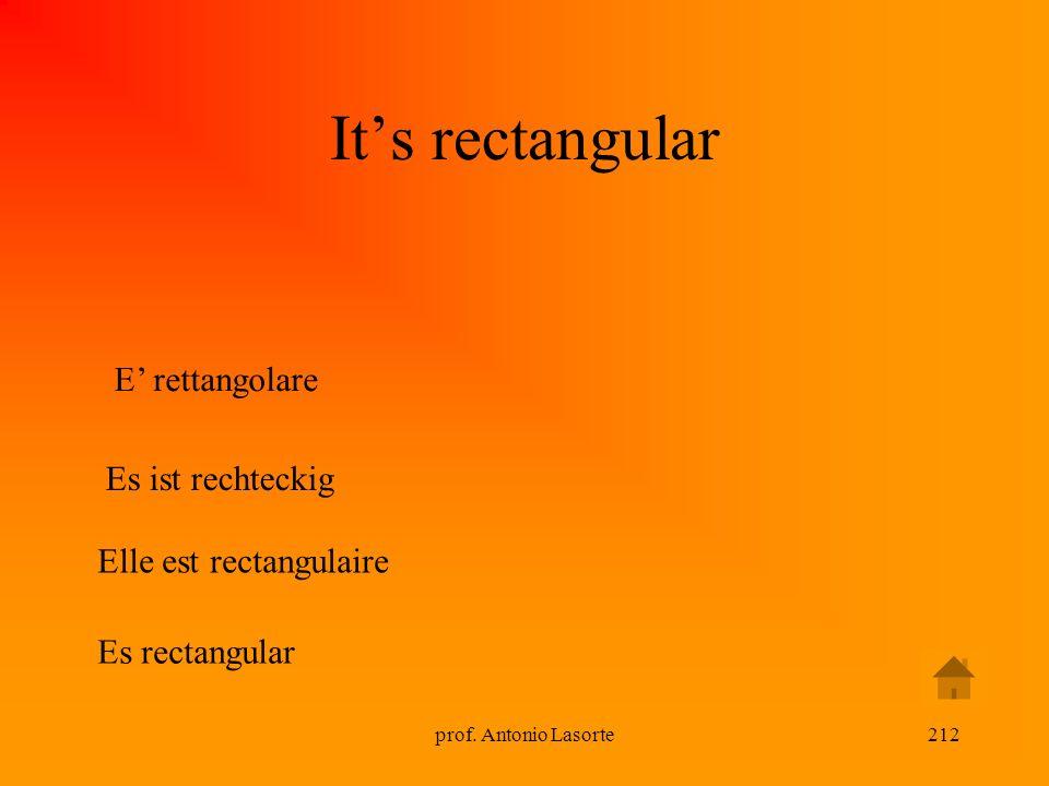 prof. Antonio Lasorte212 Its rectangular E rettangolare Es ist rechteckig Elle est rectangulaire Es rectangular