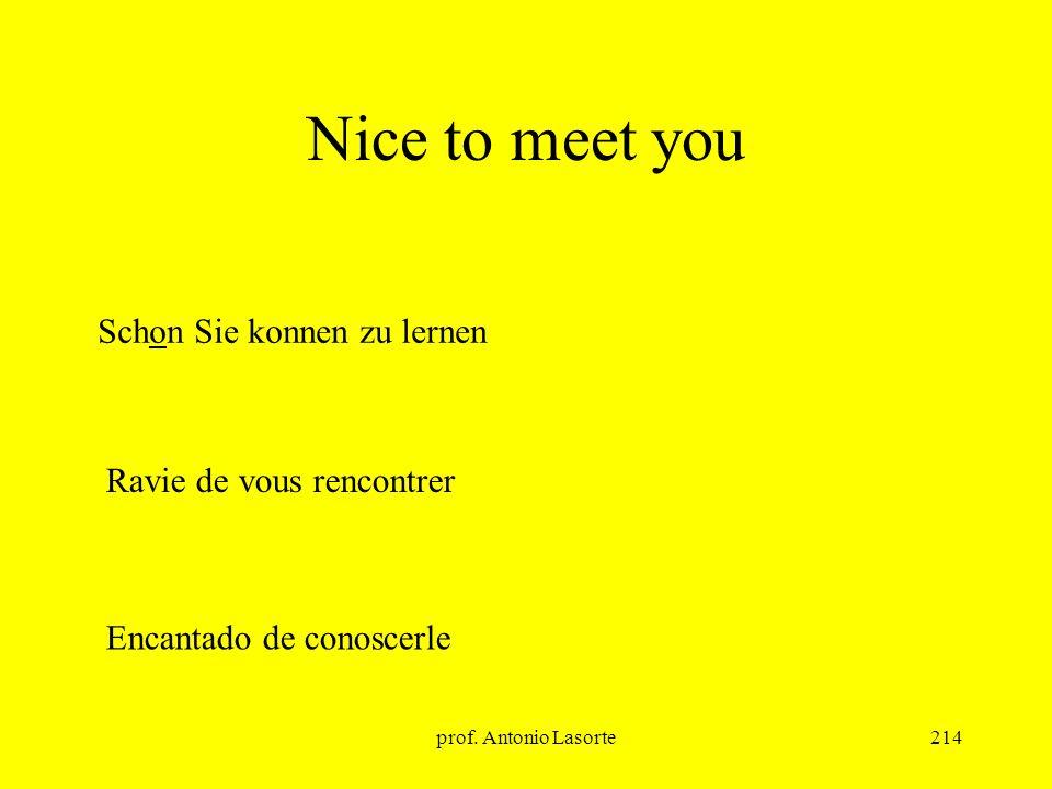 prof. Antonio Lasorte214 Nice to meet you Schon Sie konnen zu lernen Ravie de vous rencontrer Encantado de conoscerle