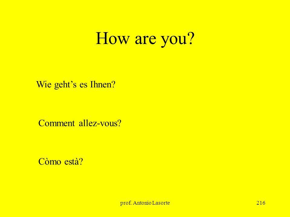 prof. Antonio Lasorte216 How are you? Comment allez-vous? Wie gehts es Ihnen? Còmo està?