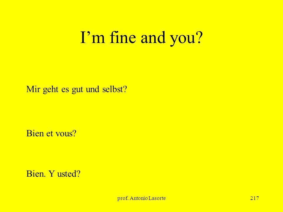 prof. Antonio Lasorte217 Im fine and you? Mir geht es gut und selbst? Bien et vous? Bien. Y usted?