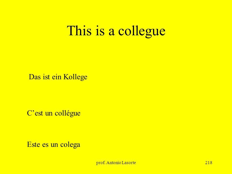 prof. Antonio Lasorte218 This is a collegue Das ist ein Kollege Cest un collégue Este es un colega