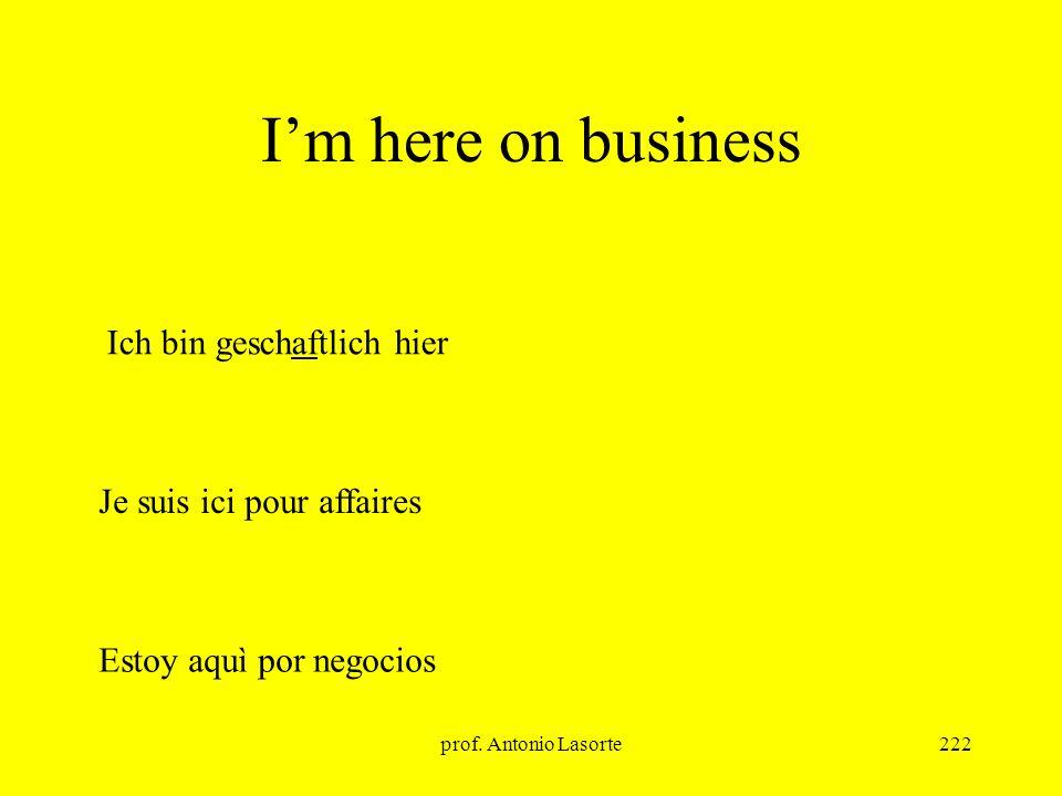 prof. Antonio Lasorte222 Im here on business Ich bin geschaftlich hier Je suis ici pour affaires Estoy aquì por negocios