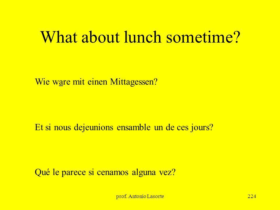 prof. Antonio Lasorte224 What about lunch sometime? Qué le parece si cenamos alguna vez? Wie ware mit einen Mittagessen? Et si nous dejeunions ensambl