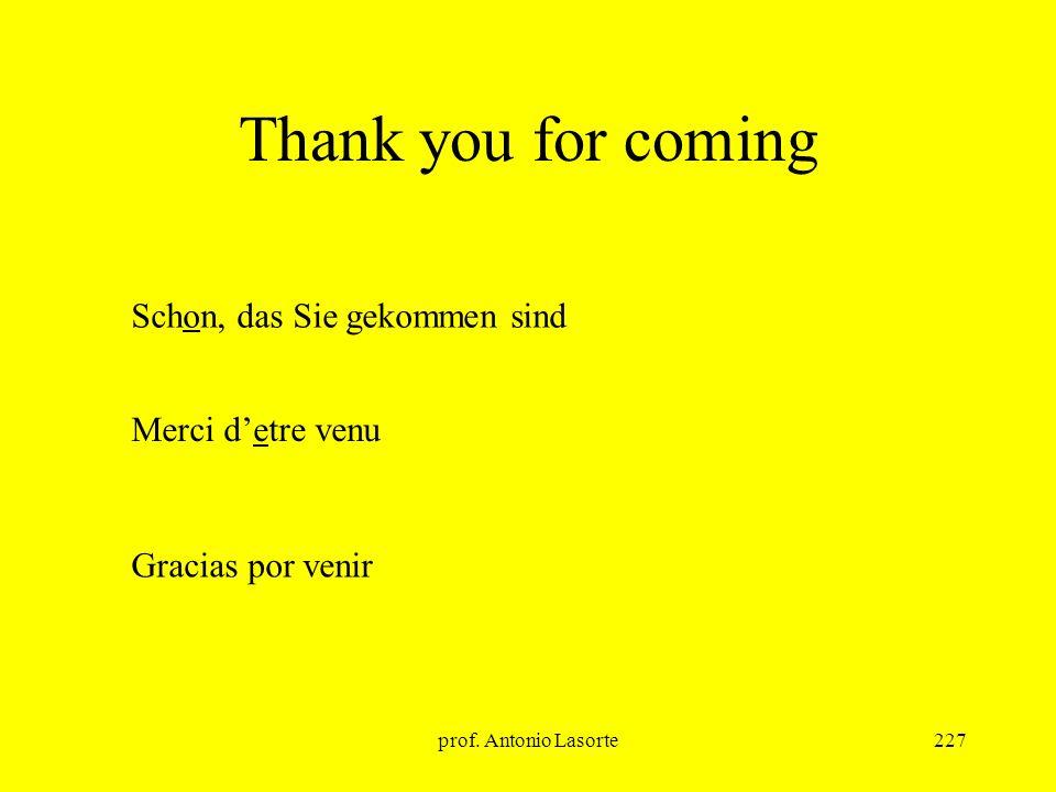 prof. Antonio Lasorte227 Thank you for coming Merci detre venu Schon, das Sie gekommen sind Gracias por venir