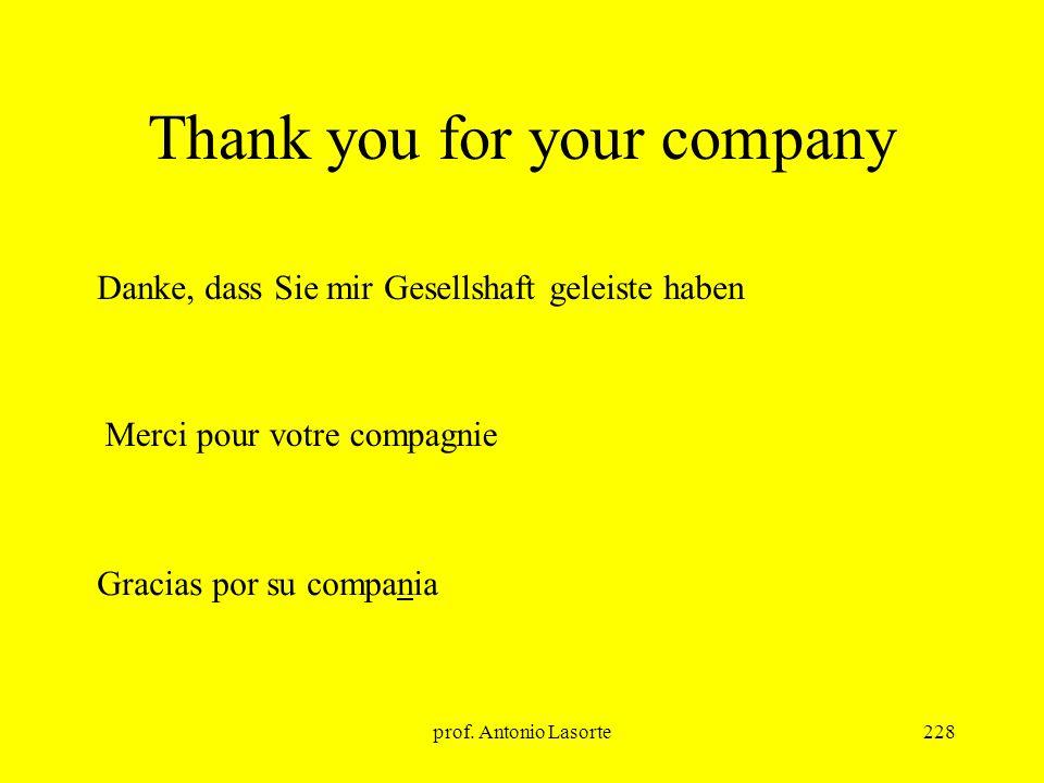 prof. Antonio Lasorte228 Thank you for your company Gracias por su compania Merci pour votre compagnie Danke, dass Sie mir Gesellshaft geleiste haben