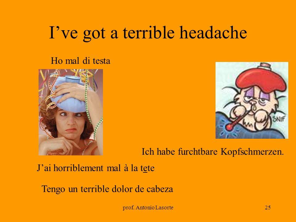 prof. Antonio Lasorte25 Ive got a terrible headache Ich habe furchtbare Kopfschmerzen. Ho mal di testa Jai horriblement mal à la tete Tengo un terribl