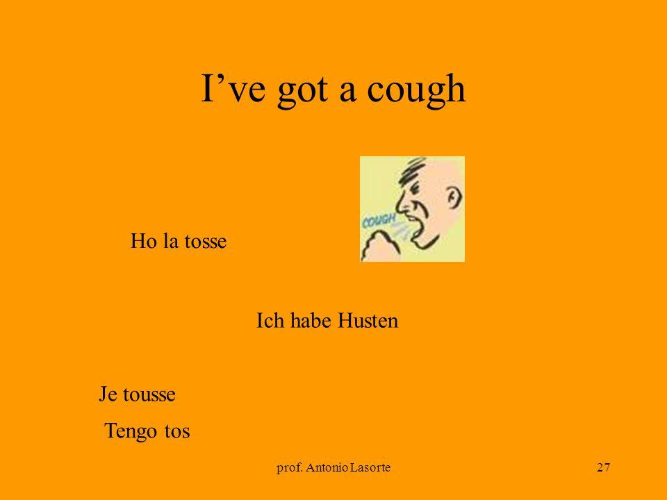 prof. Antonio Lasorte27 Ive got a cough Ich habe Husten Ho la tosse Je tousse Tengo tos