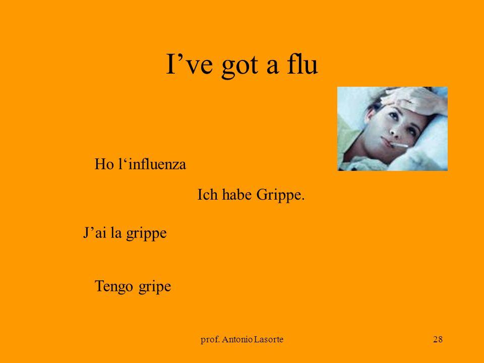 prof. Antonio Lasorte28 Ive got a flu Ich habe Grippe. Ho linfluenza Jai la grippe Tengo gripe