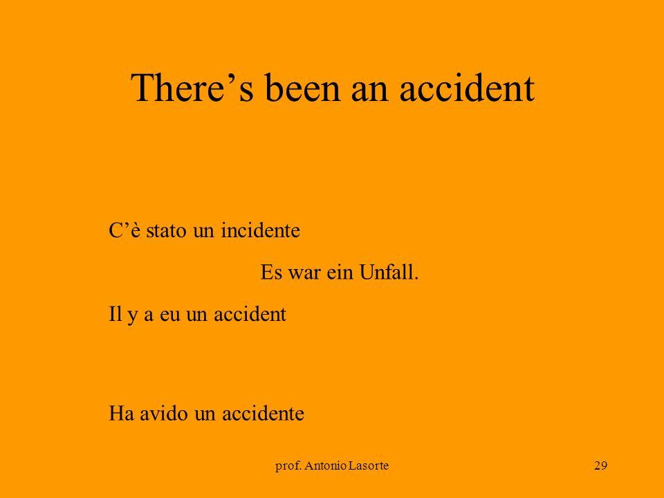prof. Antonio Lasorte29 Theres been an accident Es war ein Unfall. Cè stato un incidente Il y a eu un accident Ha avido un accidente