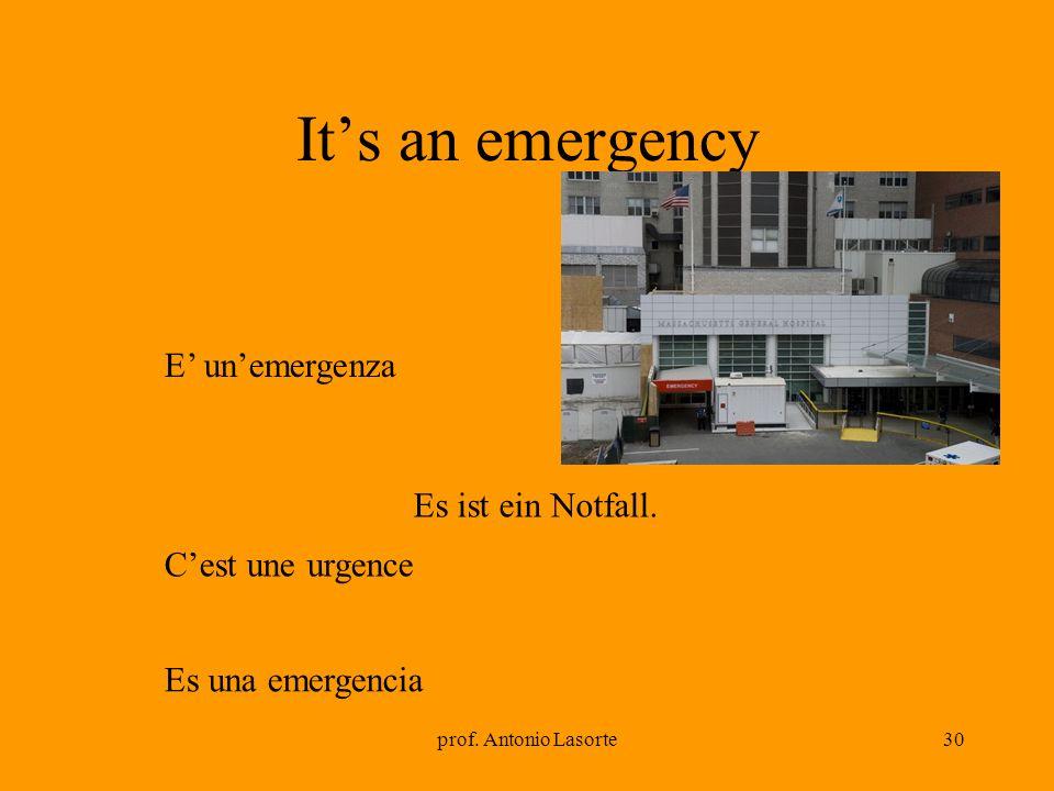 prof. Antonio Lasorte30 Its an emergency Es ist ein Notfall. E unemergenza Cest une urgence Es una emergencia