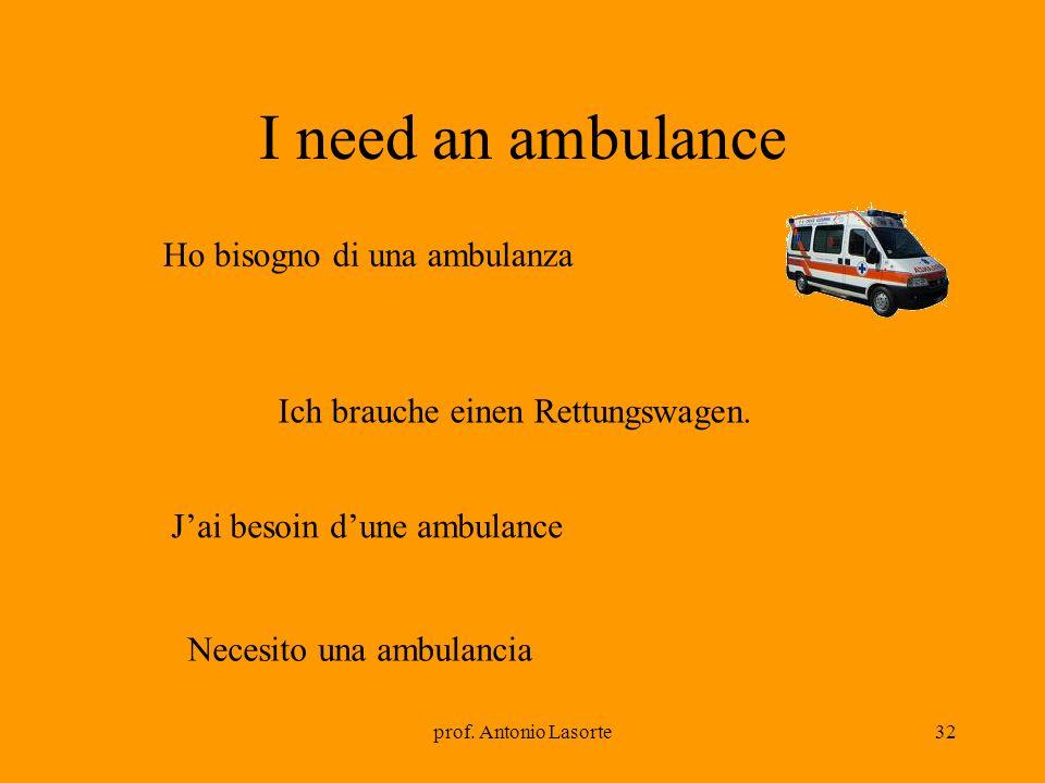 prof. Antonio Lasorte32 I need an ambulance Ich brauche einen Rettungswagen. Ho bisogno di una ambulanza Jai besoin dune ambulance Necesito una ambula