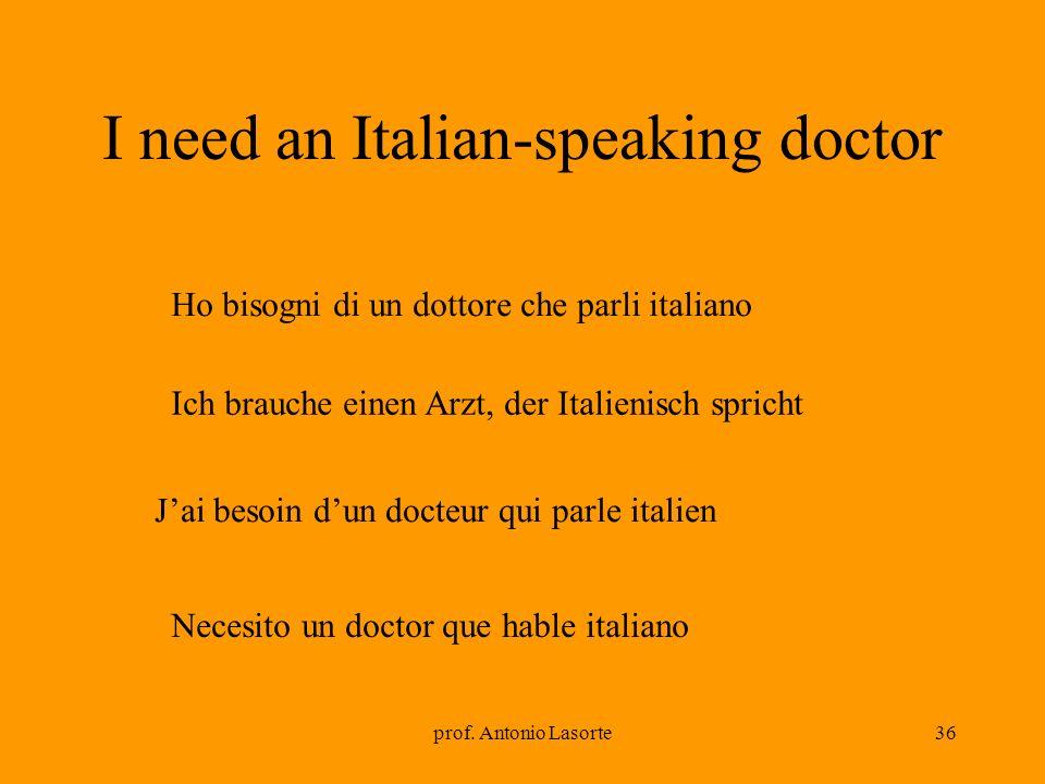 prof. Antonio Lasorte36 I need an Italian-speaking doctor Ich brauche einen Arzt, der Italienisch spricht Ho bisogni di un dottore che parli italiano