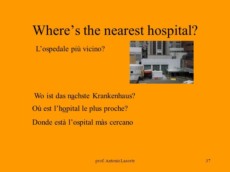 prof. Antonio Lasorte37 Wheres the nearest hospital? Wo ist das nachste Krankenhaus? Lospedale più vicino? Où est lhopital le plus proche? Donde està