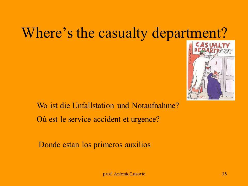 prof. Antonio Lasorte38 Wheres the casualty department? Wo ist die Unfallstation und Notaufnahme? Où est le service accident et urgence? Donde estan l