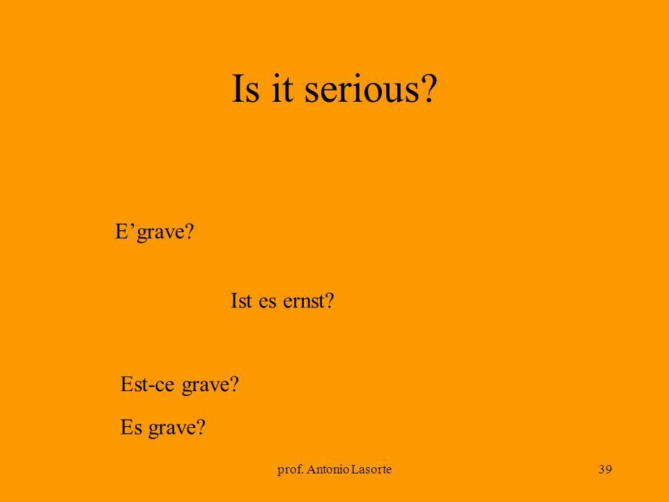 prof. Antonio Lasorte39 Is it serious? Ist es ernst? Egrave? Est-ce grave? Es grave?