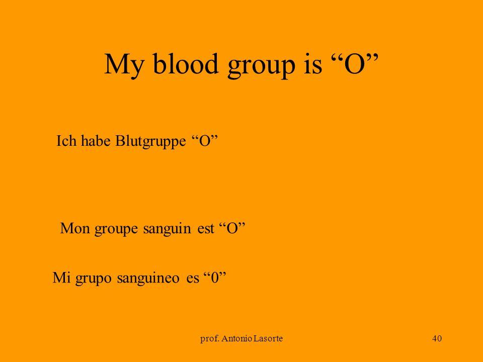 prof. Antonio Lasorte40 Mon groupe sanguin est O My blood group is O Ich habe Blutgruppe O Mi grupo sanguineo es 0