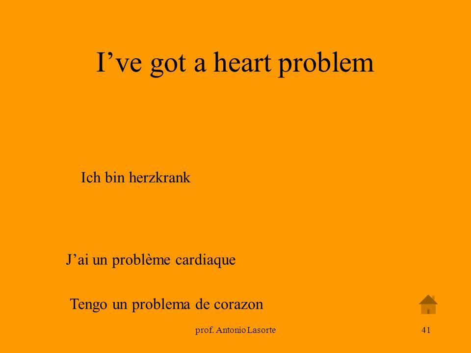 prof. Antonio Lasorte41 Jai un problème cardiaque Ive got a heart problem Ich bin herzkrank Tengo un problema de corazon