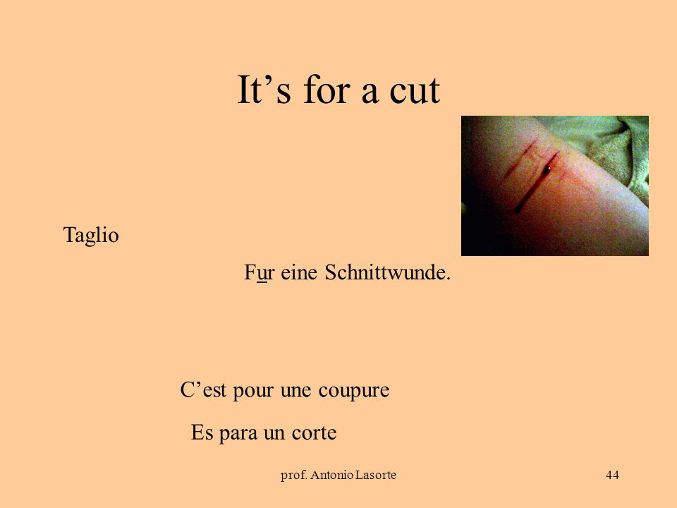 prof. Antonio Lasorte44 Its for a cut Fur eine Schnittwunde. Taglio Cest pour une coupure Es para un corte