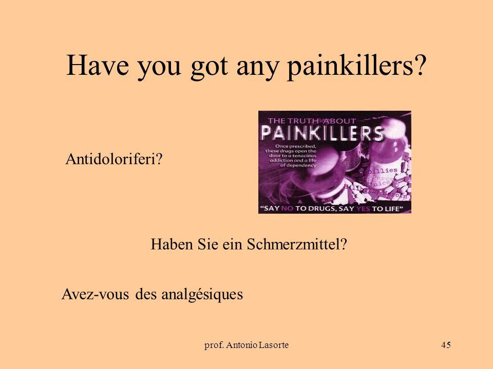 prof. Antonio Lasorte45 Have you got any painkillers? Haben Sie ein Schmerzmittel? Antidoloriferi? Avez-vous des analgésiques