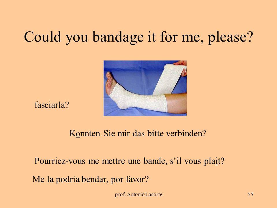 prof. Antonio Lasorte55 Could you bandage it for me, please? Konnten Sie mir das bitte verbinden? fasciarla? Pourriez-vous me mettre une bande, sil vo
