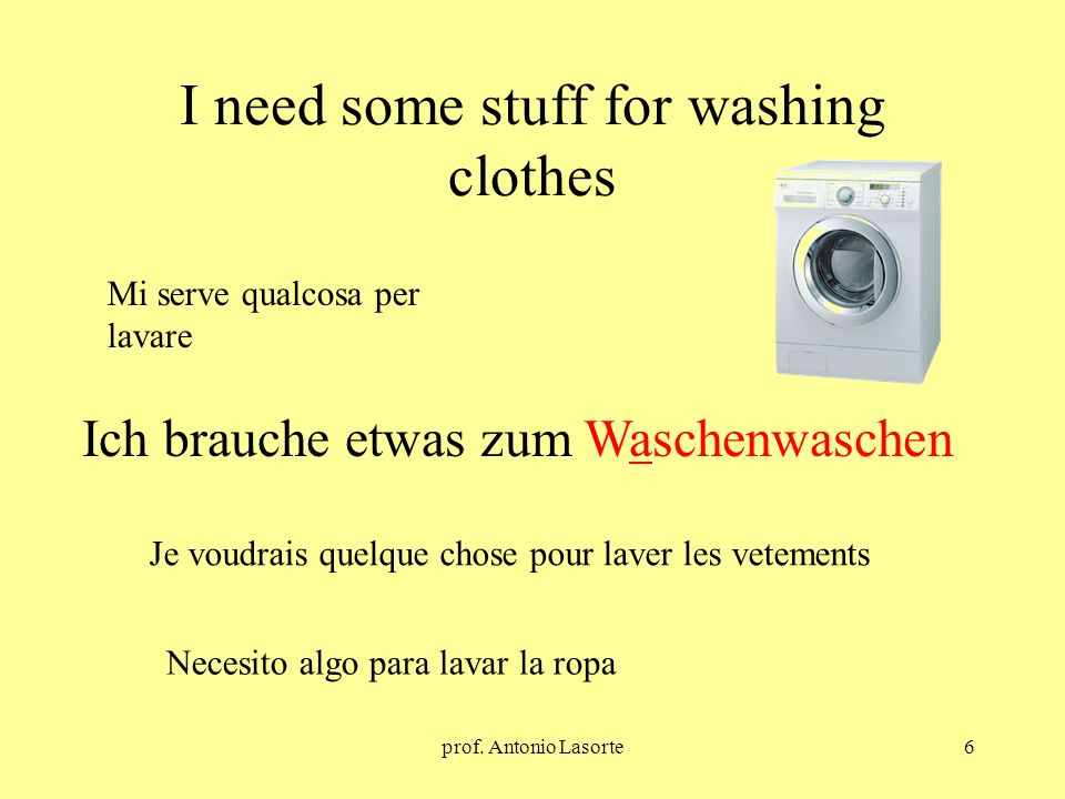 prof. Antonio Lasorte6 I need some stuff for washing clothes Ich brauche etwas zum Waschenwaschen Mi serve qualcosa per lavare Je voudrais quelque cho