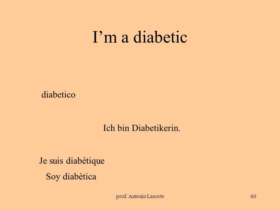 prof. Antonio Lasorte60 Im a diabetic Ich bin Diabetikerin. diabetico Je suis diabétique Soy diabètica