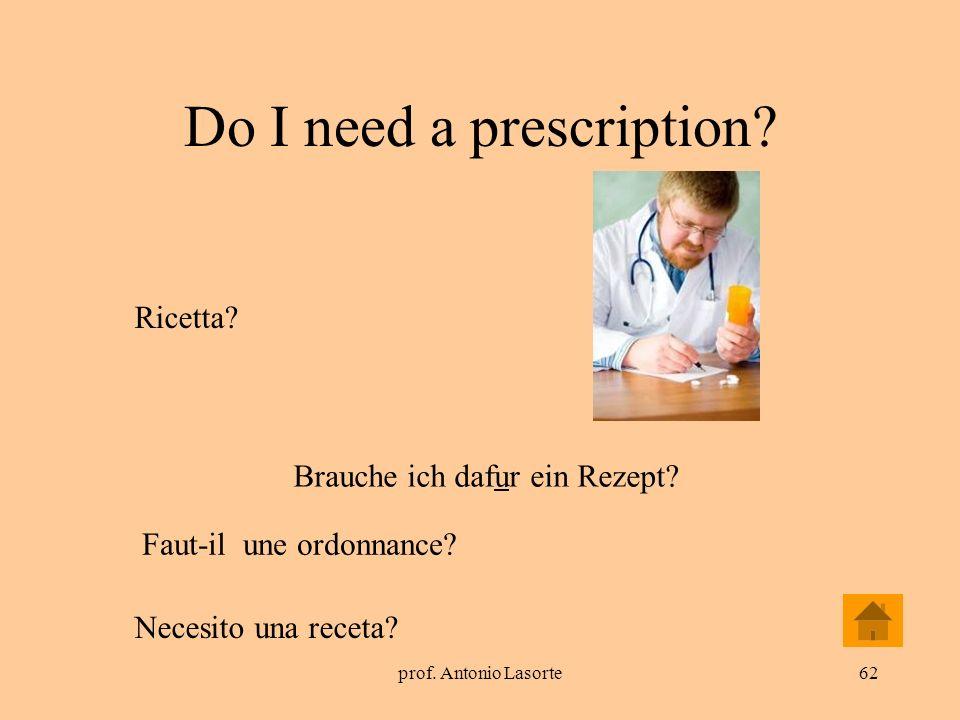 prof. Antonio Lasorte62 Do I need a prescription? Brauche ich dafur ein Rezept? Ricetta? Faut-il une ordonnance? Necesito una receta?