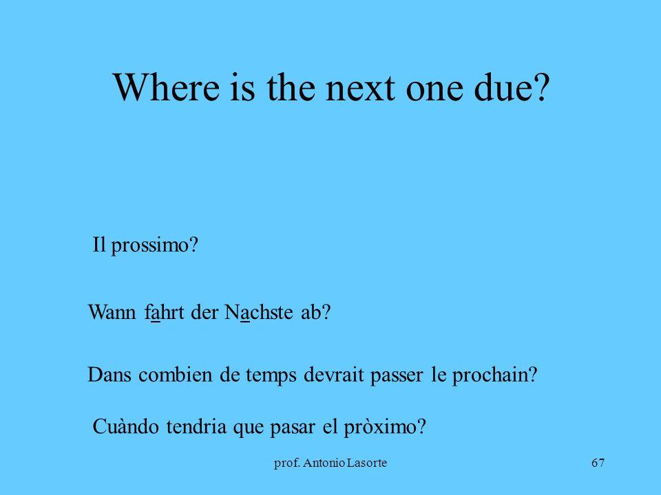 prof.Antonio Lasorte67 Where is the next one due.