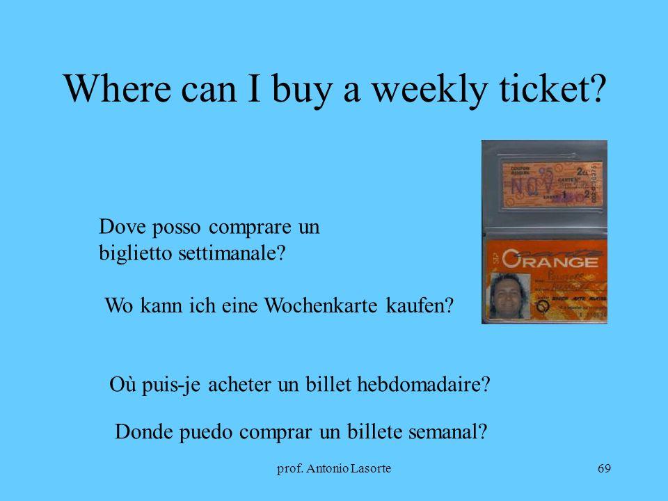 prof. Antonio Lasorte69 Where can I buy a weekly ticket? Dove posso comprare un biglietto settimanale? Wo kann ich eine Wochenkarte kaufen? Où puis-je
