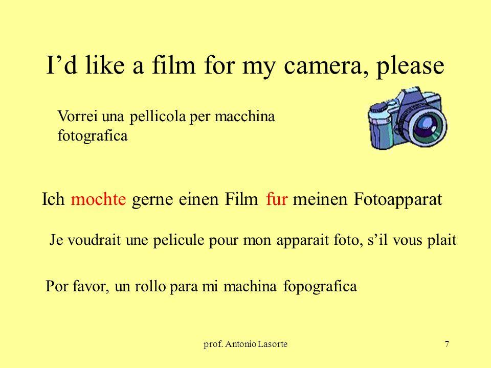 prof. Antonio Lasorte7 Id like a film for my camera, please Ich mochte gerne einen Film fur meinen Fotoapparat Vorrei una pellicola per macchina fotog