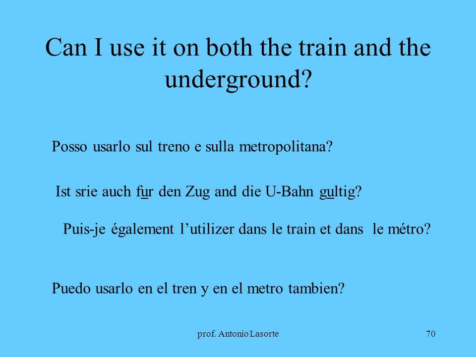 prof. Antonio Lasorte70 Can I use it on both the train and the underground? Posso usarlo sul treno e sulla metropolitana? Ist srie auch fur den Zug an