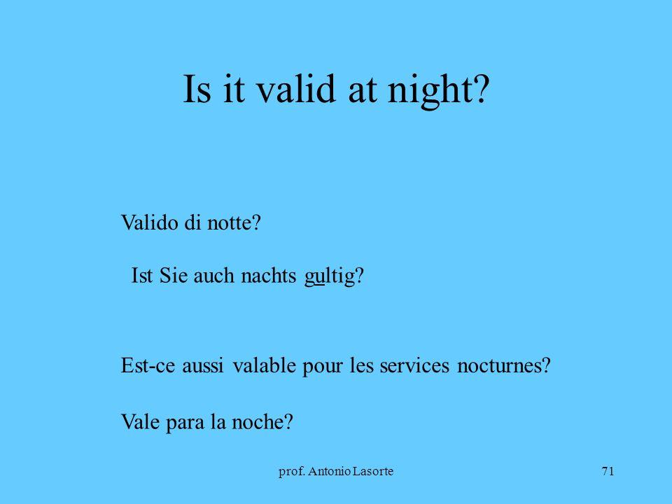 prof. Antonio Lasorte71 Is it valid at night? Valido di notte? Ist Sie auch nachts gultig? Est-ce aussi valable pour les services nocturnes? Vale para