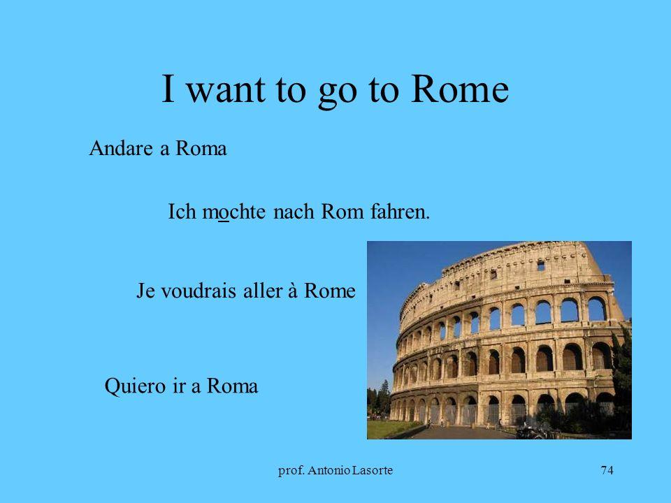 prof. Antonio Lasorte74 I want to go to Rome Andare a Roma Ich mochte nach Rom fahren. Je voudrais aller à Rome Quiero ir a Roma