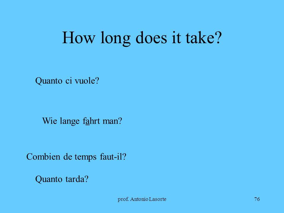prof. Antonio Lasorte76 How long does it take? Quanto ci vuole? Wie lange fahrt man? Combien de temps faut-il? Quanto tarda?