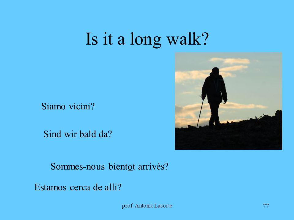 prof. Antonio Lasorte77 Is it a long walk? Siamo vicini? Sind wir bald da? Sommes-nous bientot arrivés? Estamos cerca de alli?