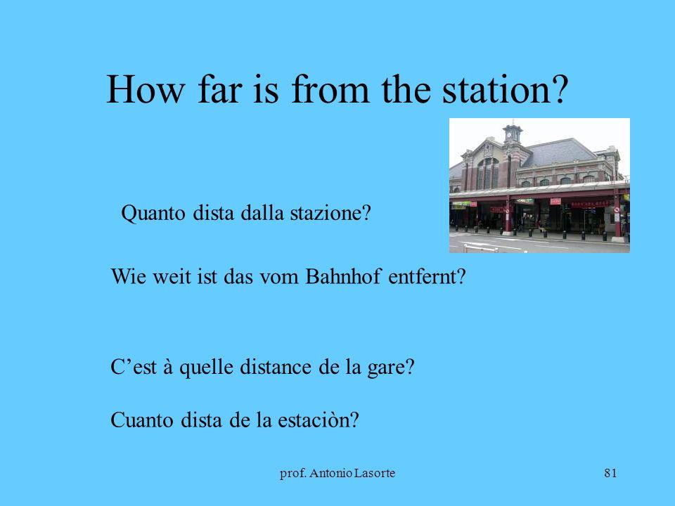 prof.Antonio Lasorte81 How far is from the station.