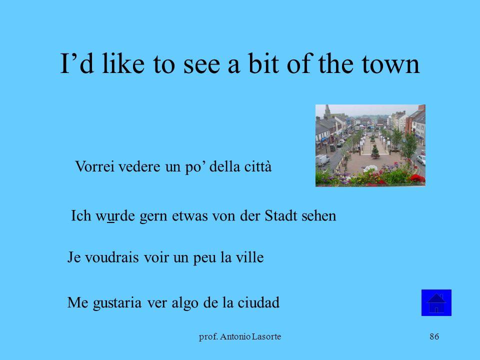 prof. Antonio Lasorte86 Id like to see a bit of the town Vorrei vedere un po della città Ich wurde gern etwas von der Stadt sehen Je voudrais voir un
