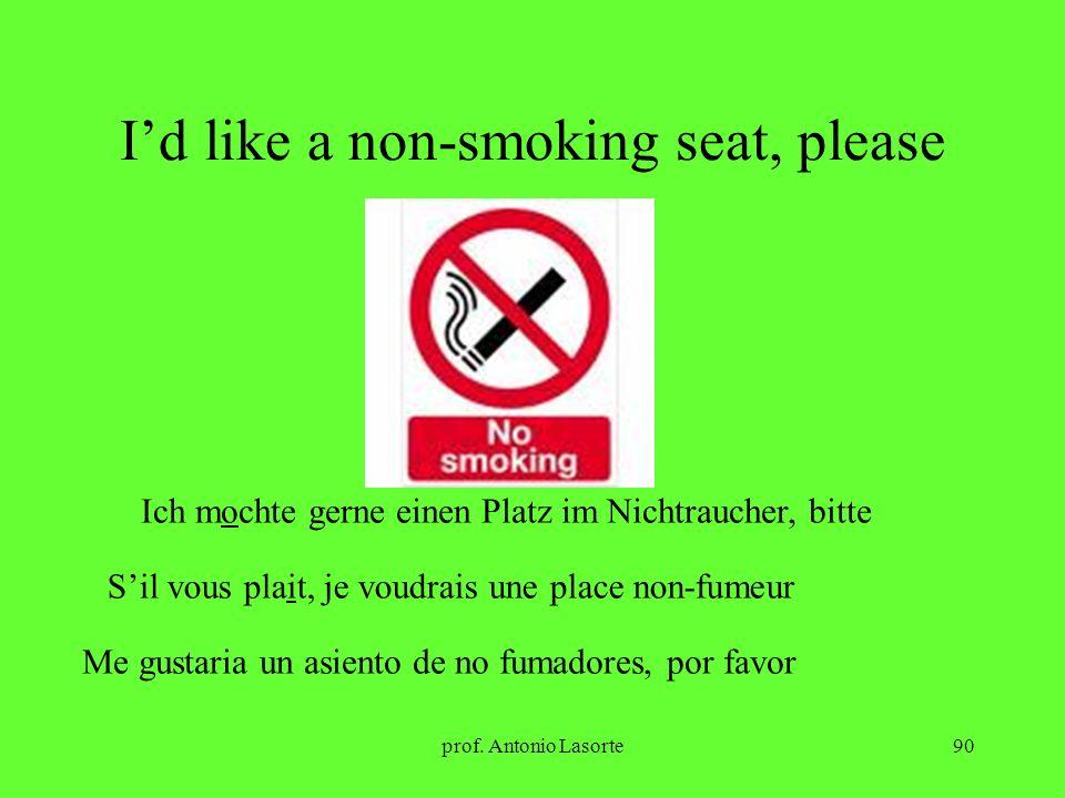 prof. Antonio Lasorte90 Id like a non-smoking seat, please Ich mochte gerne einen Platz im Nichtraucher, bitte Sil vous plait, je voudrais une place n